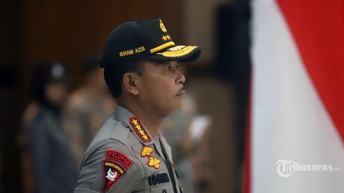 Kapolri Jenderal Idham Azis memimpin langsung upacara kenaikan pangkat pati dan pamen polri di gedung Bareskrim Polri, Jakarta Selatan, Kamis (26/12/2019). Idham Aziz menaikan sebanyak 24 pati dan 90 pamen Polri pada upacara tersebut. Tribunnews/Jeprima
