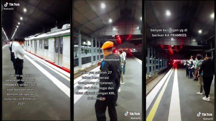 TikTok/@alras13 Tangkapan layar video akun TikTok @alras13 saat Upacara Pelepasan KA Prameks di Stasiun Solo Balapan pada Selasa (9/2/2021).