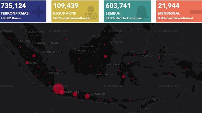 Update Kasus Covid-19 Indonesia 30 Desember: Kasus Baru 8.002, Sembuh 6.958, dan Meninggal 241