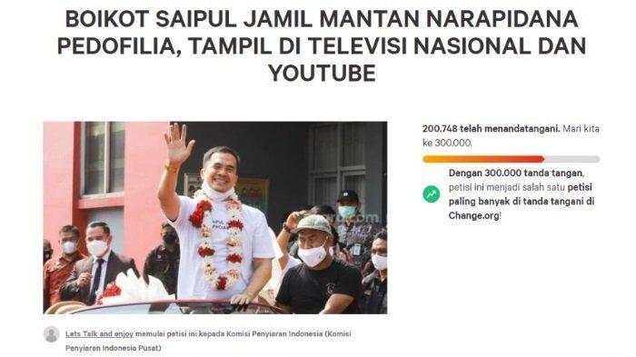Update petisi boikot Saipul Jamil sudah ditanda tangani 200 ribu lebih hingga Sabtu (4/9/2021) sore.