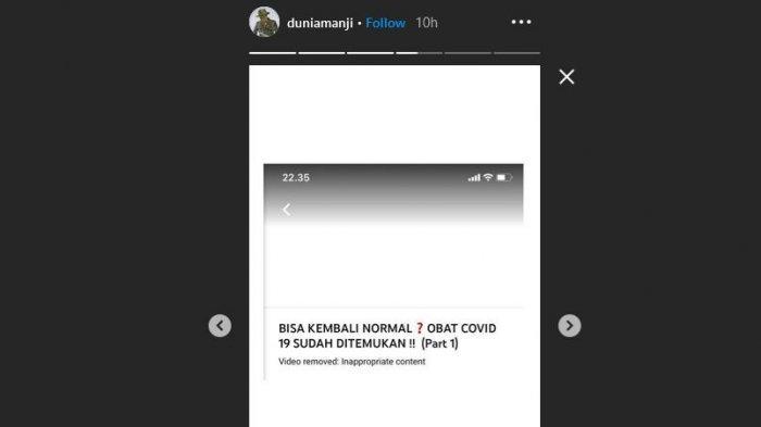 Video di konten YouTube Anji soal klaim obat covid-19 yang ditemukan Hadi Pranoto dibanned YouTube.