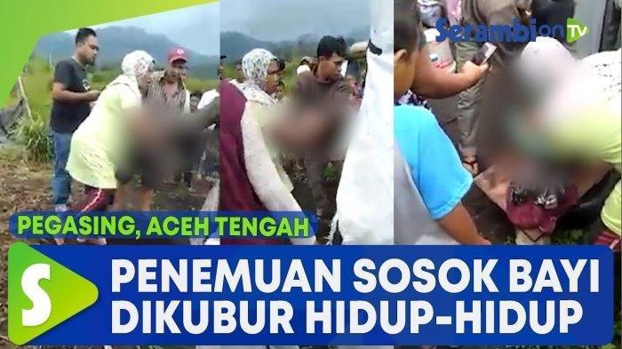 Sebuah video memperlihatkan seorang bayi dikubur hidup-hidup viral di media sosial. Kejadian ini terjadi di Dusun Lukup Badak, Kampung Simpang Kelaping, Pegasing, Aceh Tengah, Senin (31/8/2020).