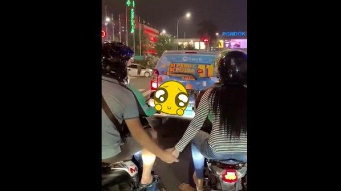 Video Pasangan Ini Viral di Twitter, Naik Ojol Beda Motor Tapi Tetep Gandengan Tangan