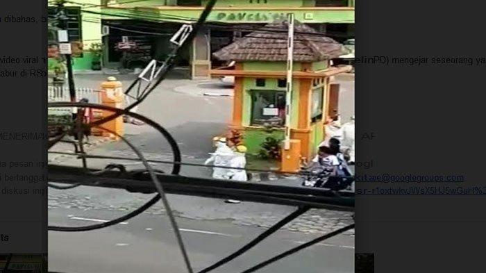 Sebuah video viral beredar luas di media sosial ketika beberapa orang memakai Alat Pelindung Diri (APD) mengejar seseorang yang diduga pasien Covid-19 atau virus corona yang kabur di RSSA Malang, Rabu (15/7/2020).
