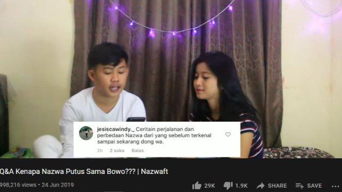 video 'Q&A Kenapa Nazwa Putus Sama Bowo???', Nazwa mengaku pernah dekat dengan pemilik nama asli Prabowo Mondardo itu.