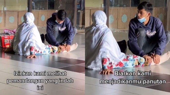 VIRAL Anak Pijat Kaki Ibu yang Terduduk di Lantai Bandara, Pengunggah Ungkap Kekagumannya