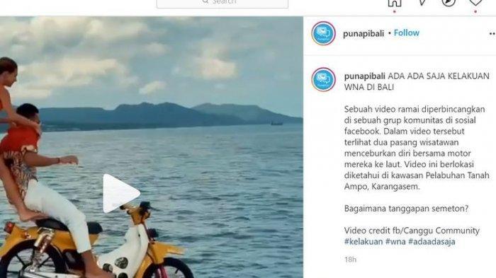 Heboh Video Turis Asing Pakai Motor Ceburkan Diri ke Laut, Polisi Bali Lakukan Penyelidikan