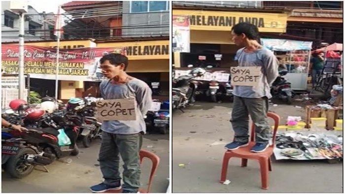 Viral Pencopet Dihukum Agar Tak Ulang Perbuatannya, Berdiri dan Pakai Kalung Tulisan 'Saya Copet'