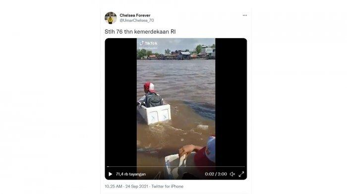 Viral Video Siswa Seberangi Sungai Naik Kotak Styrofoam, Kata Camat hingga Reaksi Susi Pudjiastuti