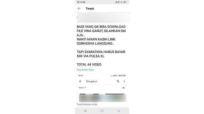 Akun Twitter yang menjual video Vina Garut