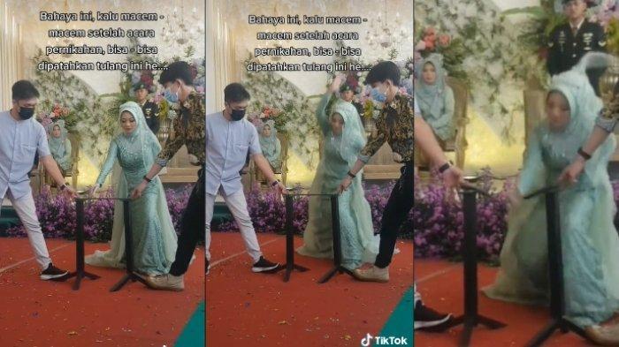 Aksi pengantin wanita patahkan besi di hari pernikahan. (tiktok.com/@noto_moto)