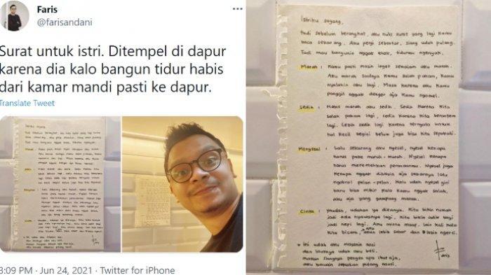 Viral aksi seorang suami menuliskan surat cinta yang berisi permintaan maaf kepada sang istri setelah bertengkar.