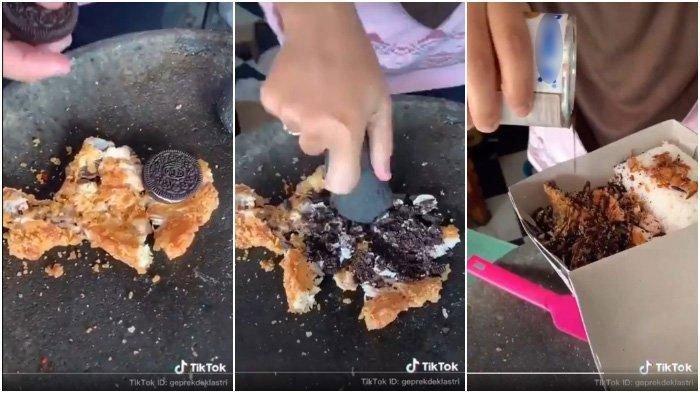 Viral Video Ayam Geprek Oreo Topping SKM, Padukan Cita Rasa Asin Gurih dengan Manis