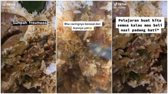 Teliti Sebelum Makan, Viral Video Beli Nasi Bungkus Temukan Banyak Belatung saat Ikan Dibelah