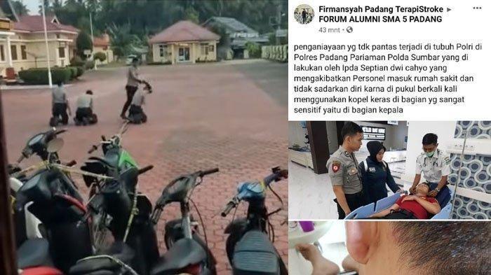 Potongan video viral 3 bintara polisi yang diduga dipukuli perwira di Polres Padang Pariaman.