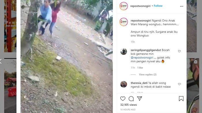 Tangkap layar video viral seorang anak mendorong wanita yang diduga ibunya.