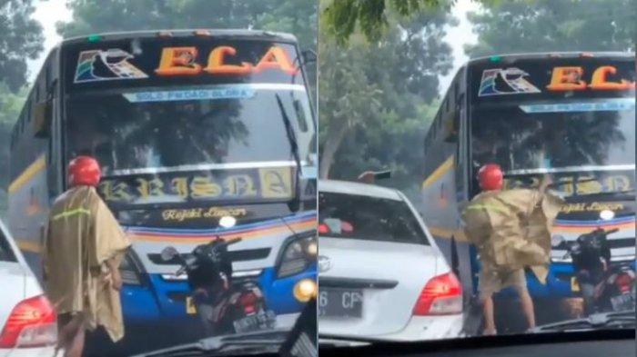 VIRAL Motor Hadang Bus di Kalijambe Sragen Gara-gara Ngeblong, Begini Kata Saksi Mata