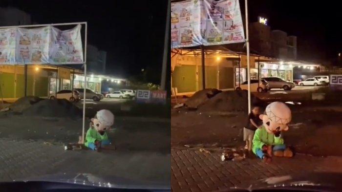 VIRAL Nenek Cari Nafkah Pakai Kostum Badut Sampai Malam bersama Cucunya, Suaminya Alami Kelumpuhan