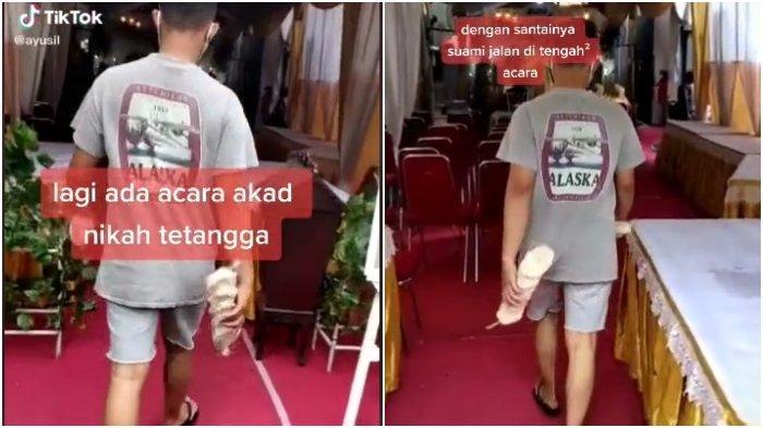 VIRAL Pria Ini Berjalan Santai di Tengah Akad Nikah Tetangga, Hanya Pakai Kaos dan Sandal Jepit