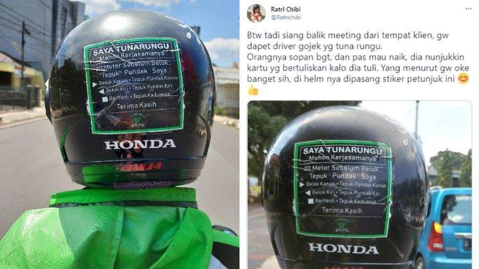 Viral sosok driver ojek online tunarungu pasang stiker imbauan di helmnya. Begini cerita dari sang penumpang.