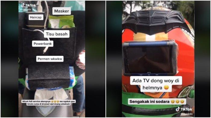 VIRAL Fasilitas Ojek Online Ini Dijuluki Bintang Lima: Ada Powerbank, Permen hingga TV di Helmnya