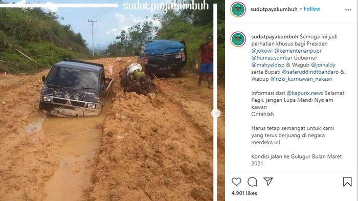 VIRAL Foto Jalan Rusak di Sumbar, Mobil Terbenam Lumpur, Anggaran Perbaikan untuk Penanganan Corona
