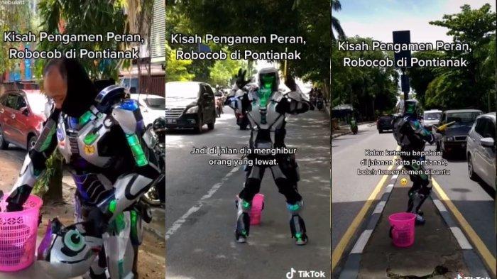 VIRAL Pengamen Berkostum RoboCop di Pontianak, Berusaha Cari Uang untuk Pengobatan Istri