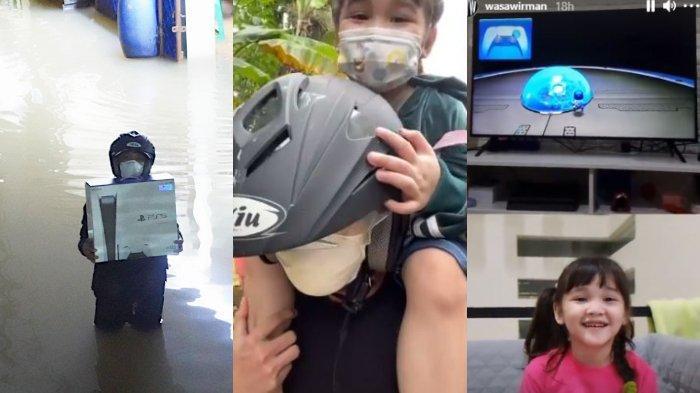 Viral Foto Pria Bawa PS5 di Tengah Banjir, Ternyata Dibeli Khusus untuk Anaknya