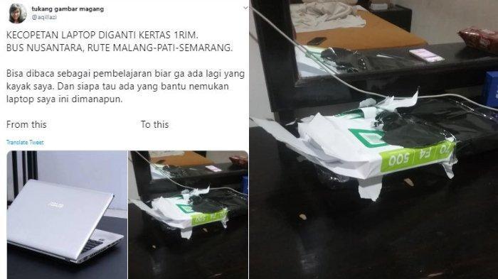 Viral Laptop Hilang, Diganti Kertas 1 Rim, Korban: Tidak Merasa Aneh karena Tas Masih Berat