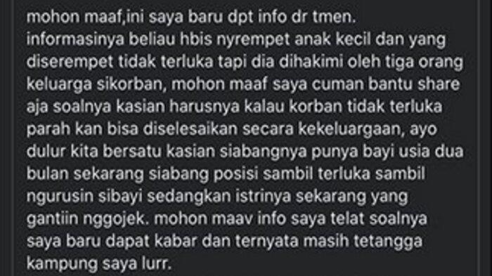 Viral driver ojol dihakimi warga karena menyerempet anak kecil di Malang