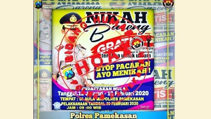 Viral pamflet nikah bareng gratis beredar di WhatsApp bikin warga Pamekasan heboh. Polisi menyebut itu hoax.