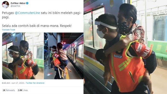 VIRAL Foto Petugas KRL Gendong Penumpang Disabilitas, PT KCI Ungkap Kisah di Baliknya