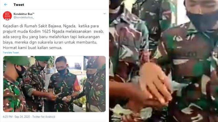 VIRAL Video Prajurit TNI Iuran untuk Bantu Seorang Ibu yang Baru Melahirkan, Ini Kisah di Baliknya