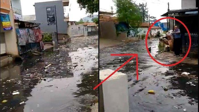 VIRAL Jalanan Cimahi Banjir Ada Luapan Sampah, Pria Ini Justru Santai Buang Sampah di Depan Rumah