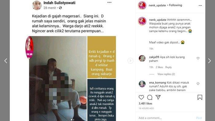 Viral pria tak dikenal onani di rumah warga di Sidoharjo