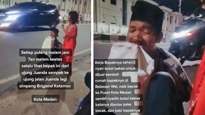 Viral Pria Tua Jalan Ngesot Sambil Gigit Karung, Cari Botol Bekas saat Malam & Ditemani sang Putri