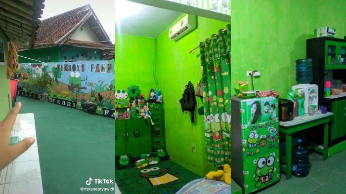Viral video rumah bertema kartun keroppi, semua perbabotan serba warna hijau. Begini cerita dari si pengunggah.
