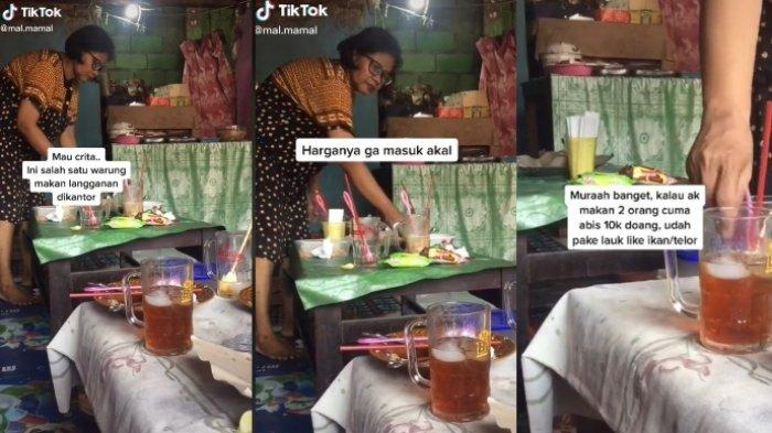 Viral sebuah warung sederhana di Semarang, menolak dibayar lebih. Dua porsi nasi lauk ayam dan telur hanya Rp 10 rb saja. (tiktok.com/@mal.mamal)