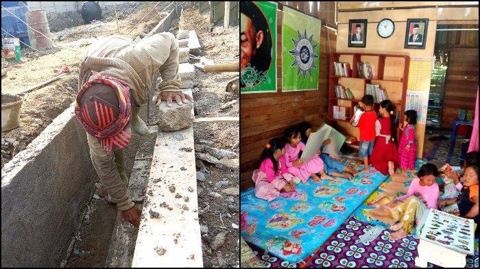 VIRAL Kuli Bangunan Rintis Taman Bacaan dan Bimbel Gratis untuk Anak-anak, Aksinya Banjir Pujian