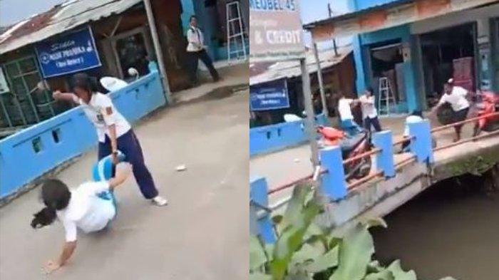 Empat orang siswi di Bogor terlibat perkelahian di Jalan Raya Citayam, perbatasan antara Kota Depok dan Kabupaten Bogor, pada Senin (20/1/2020).