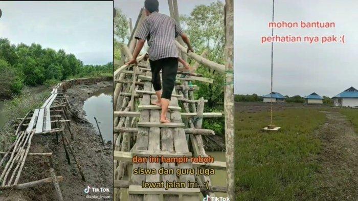 VIRAL Sulitnya Akses ke SMK N 1 Medang Deras Sumut, Lewati Jalan Berlumpur dan Jembatan Hampir Roboh