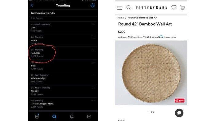 VIRAL Tampah Bambu sebagai Hiasan Dinding, Dijual Rp 4,3 Juta, Jadi Trending di Twitter