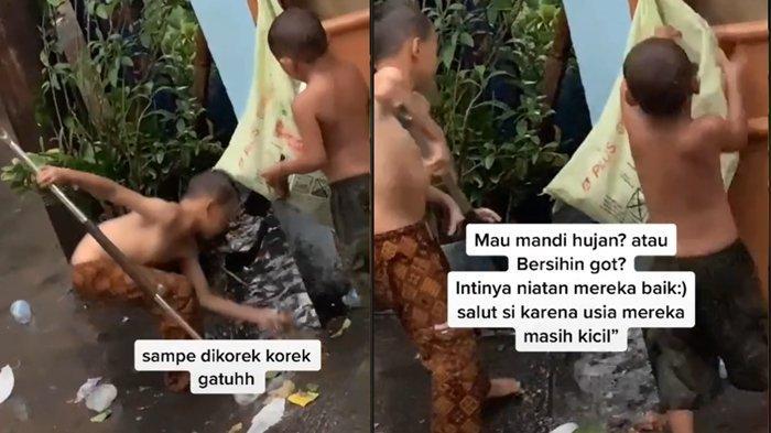 Viral Video Aksi Dua Bocah Korek-korek Got, Ambil Sampah-sampah Supaya Tak Mampet
