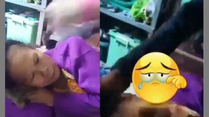 viral video anak injak kepala ibunya di Surabaya