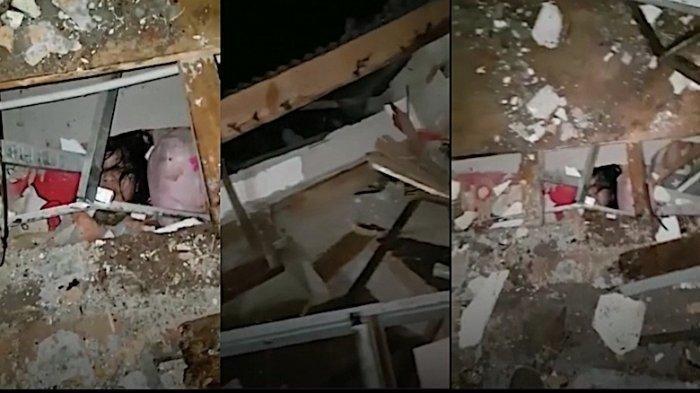 Viral video anak kecil terjebak di reruntuhan bangunan akibat gempa Majene yang mengguncang pada Jumat (15/1/2021).