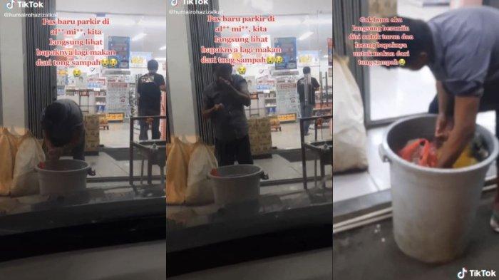 Viral video bapak-bapak memungut makanan dari tempat sampah