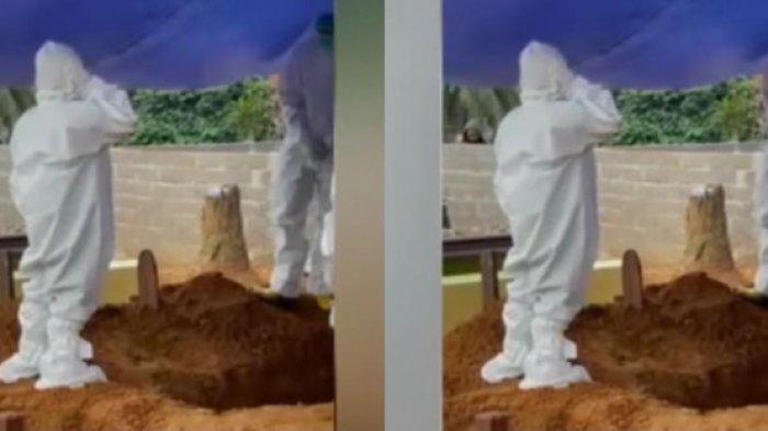 Viral Video Bocah Ber-APD Azan di Pemakaman Sang Ibu, Kedua Orangtunya Meninggal Kena Covid-19