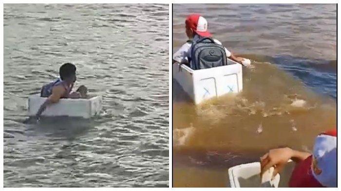 Viral Video Bocah Seberangi Sungai Naik Styrofoam, Kades: Bukan Mau Berangkat Sekolah, tapi Bermain