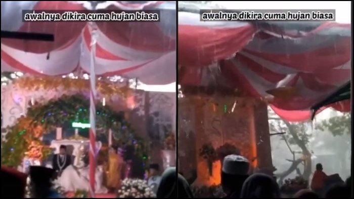 Viral video detik-detik tenda pernikahan roboh diterjang angin kencang, pengantin wanita sampai pingsan.
