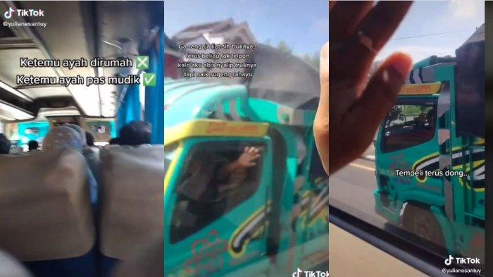 Viral video gadis tak sengaja bertemu sang ayah sedang bekerja sebagai supir truk,